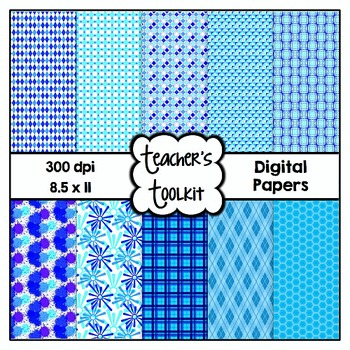 Winter Chill Digital Background Papers {8.5 x 11} Clip Art CU OK