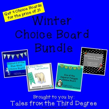 Magic Tree House Winter Reading and Writing Choice Board Bundle