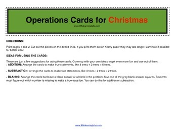 Winter Chrismas Tree operations cards prek primary math addition subtraction