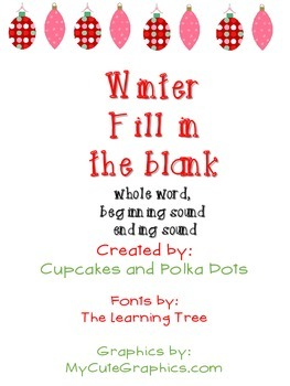 Winter Christmas Activity Missing Sounds