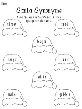 Winter Christmas Antonym and Synonym Practice