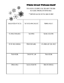 Winter Break Welcome Back New Year Autograph Activity