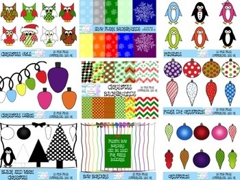 Winter Christmas Clipart and Backgrounds Bundle