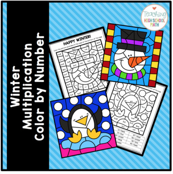 Winter Christmas Color By Number Multiplication
