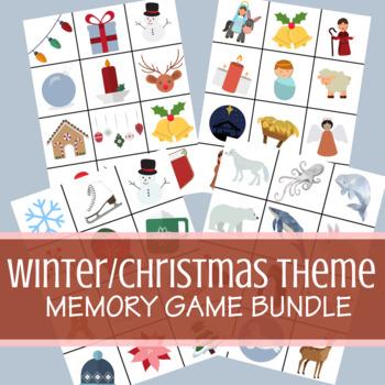 Winter | Christmas | Holiday Memory Game Bundle