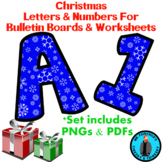 Winter Christmas Holiday Snow Bulletin Board Letters and N