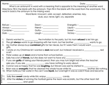 Winter - Christmas Hot Chocolate Synonym and Mitten Antonyms w/ Worksheets