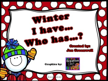 Winter / Christmas I have..Who has..? cards