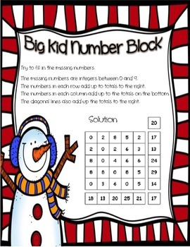 Winter / Christmas Intermediate Math Number Puzzle