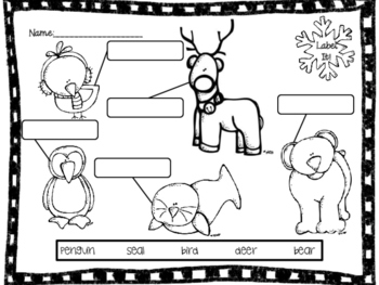 Winter Christmas Label It- A Picture Labeling Activity