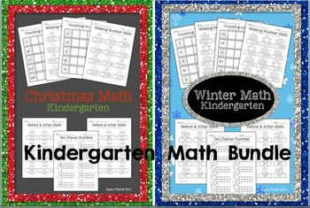 Winter & Christmas Math Bundle - sequencing, missing number, ten frames