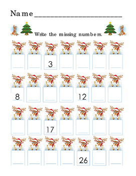 Winter Christmas Number Order to 28 Literacy Trace Write R