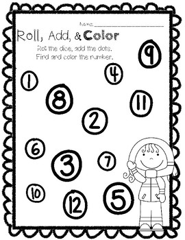 Winter / Christmas Roll & Color Math Centers