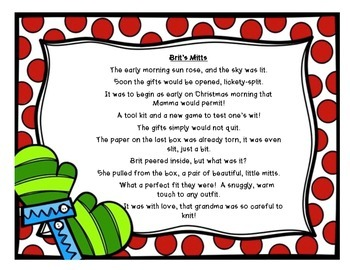 5 Winter Christmas Short i word family poems -ill, -ig, -ip, -in, -it CCSS
