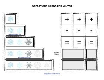 Winter Christmas Snow operations cards prek primary math addition subtraction