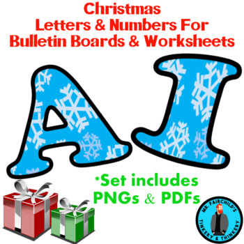 Winter Christmas Snowflake Bulletin Board Letters and Numbers Clip Art