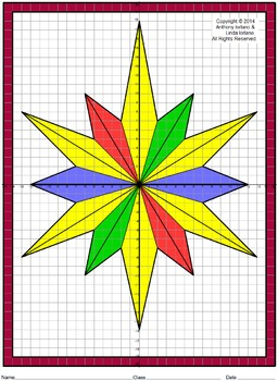 Winter, Christmas, Stained Glass, Coordinate Graphing & Dr