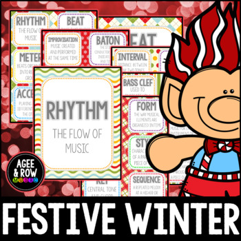 Bulletin Board & Flashcards, Winter, Snow, Wall Cards, Music