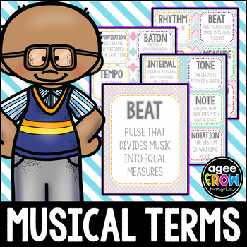 Spring Theme Flashcards, Wall Cards, Bulletin Board - Music Vocab, Easter