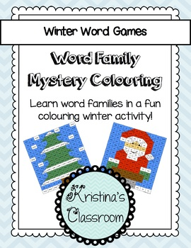 winter christmas word work word family mystery pictures tpt