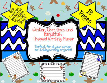 Winter, Christmas and Hanukkah Lined Writing Paper-Landscape and Portrait