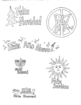 Winter Christmas holiday coloring page in Spanish