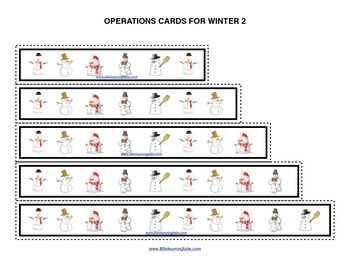 Winter Christmas snowman operations cards prek primary math addition subtraction