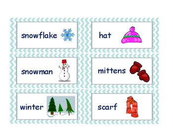 Winter Christmas word cards