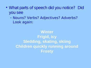 Winter Cinquain with Parts of Speech