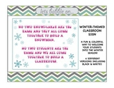 Classroom Sign - Winter Themed