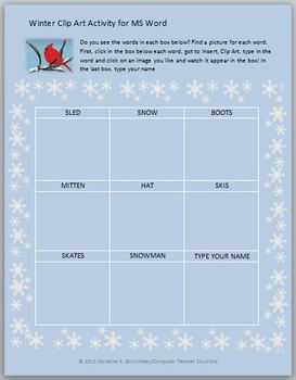 Winter Clip Art Activity for MS Word--Grades K-2