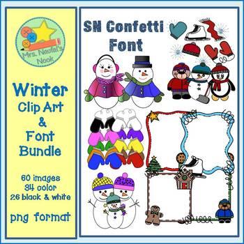 Winter Clip Art and Font Bundle