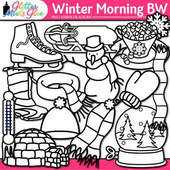 Winter Clip Art {Frosty the Snowman, Great for Worksheets & Handouts} B&W