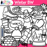 Winter Clip Art {Frosty the Snowman, Great for Worksheets & Handouts} B&W