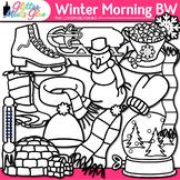 Winter Clip Art | Frosty the Snowman, Great for Worksheets & Handouts | B&W