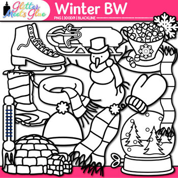 Winter Clip Art | Frosty the Snowman, Great for Worksheets & Handouts | B&W