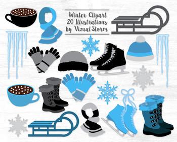 Winter Clipart Graphics - Ice Skating, Sledding, Christmas Images