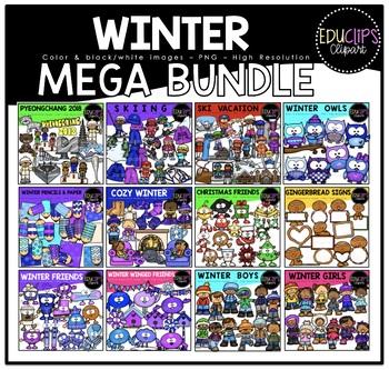 Winter Clip Art Mega Bundle {Educlips Clipart}
