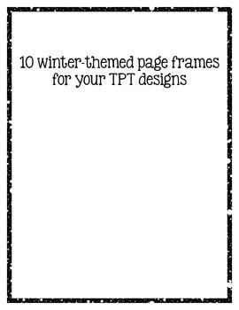 Winter Clip Art Page Border Frames: Black and White Digital Frames