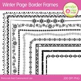 Winter Clip Art Page Border Frames: Black and White Digita