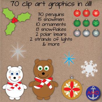 Winter Clip Art & Paper Bundle-Penguins, Snowmen, Snowflakes & Ornaments