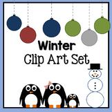 Winter / Christmas Clip Art Set: Penguins, ornaments and snowman!