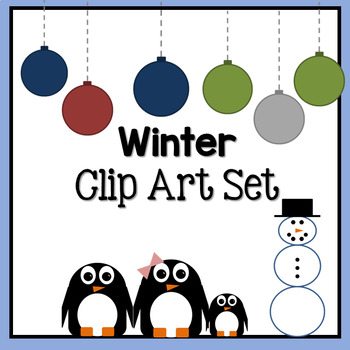 Winter / Christmas Clip Art Set: Penguins, ornaments and snowman!