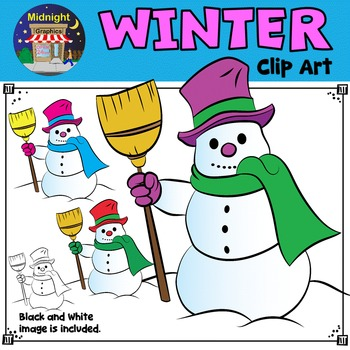 Winter Clip Art - Snowman Holding Broom