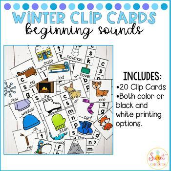 Winter Clip Cards- Beginning Sounds