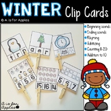 Winter Clip Cards for Reading and Math
