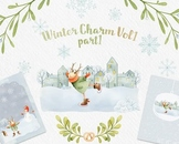 Winter Clipart, Playful Deer, Christmas watercolor clipart