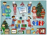 Winter Clipart: Kids in Pajamas for Christmas available for Commercial Use