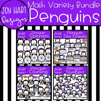 Winter Clipart - Penguin Math Ten Frames {Jen Hart Clipart}