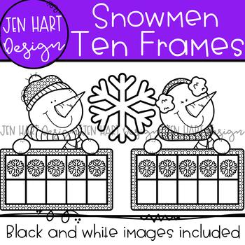Winter Clipart - Snowmen Math Ten Frames {Jen Hart Clipart}